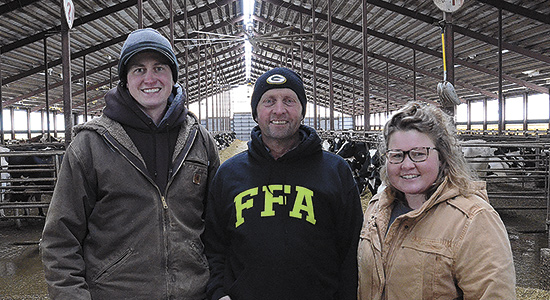 The Vanderstappens – (from left) Marty, Mart and Adrianna – run Dutch-Made LLC near Lake Geneva, Wisconsin. The Vanderstappens milk 580 cows and farm 700 acres. PHOTO BY STACEY SMART