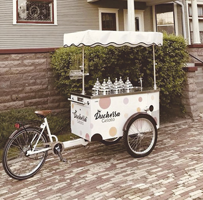 Maartje Murphy uses this bicycle-powered pushcart to serve her Duchessa Gelato at catered events. The pushcart was formerly used to sell gelato in Italy. PHOTO SUBMITTED